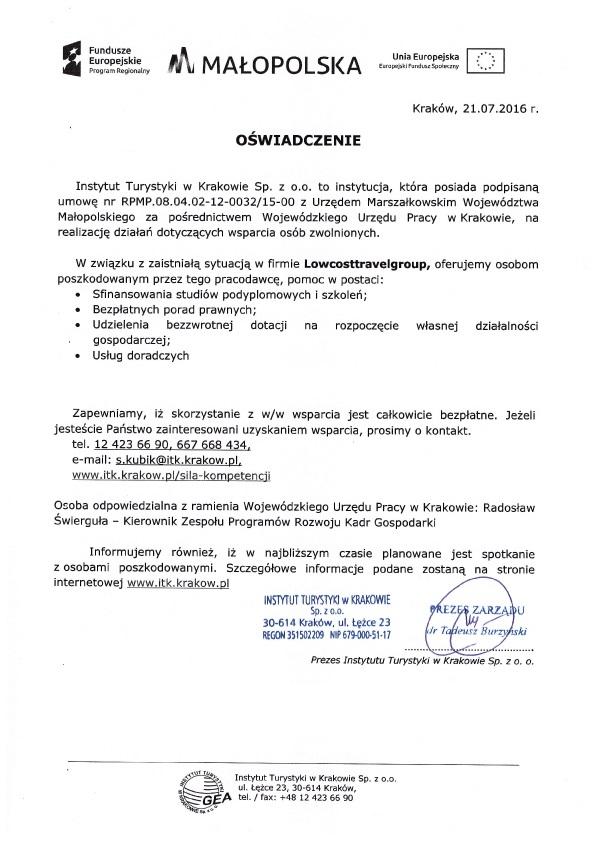 Oświadczenie w sprawie Lowcosttravelgroup 2